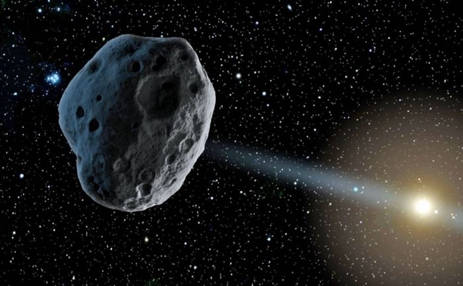 A model of an asteroid orbiting our solar system, just as the new interstellar object is.