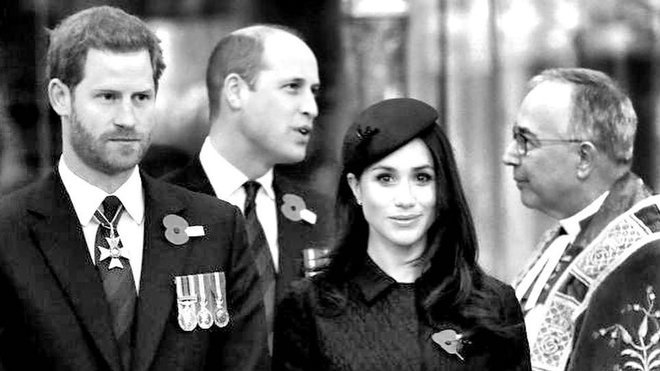 Princ Harry, William a Meghan
